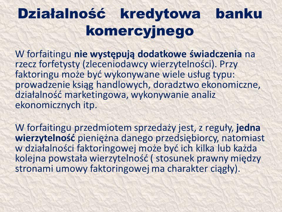 Działalność kredytowa banku komercyjnego W forfaitingu nie występują dodatkowe świadczenia na rzecz forfetysty (zleceniodawcy wierzytelności). Przy fa