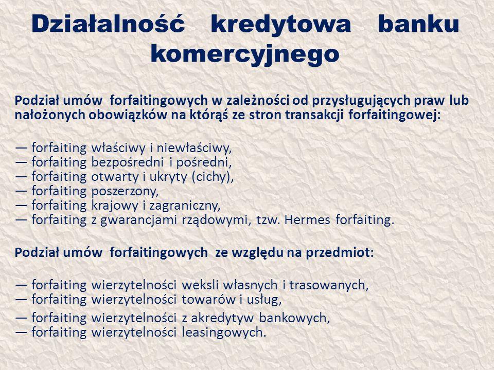 Działalność kredytowa banku komercyjnego Podział umów forfaitingowych w zależności od przysługujących praw lub nałożonych obowiązków na którąś ze stro