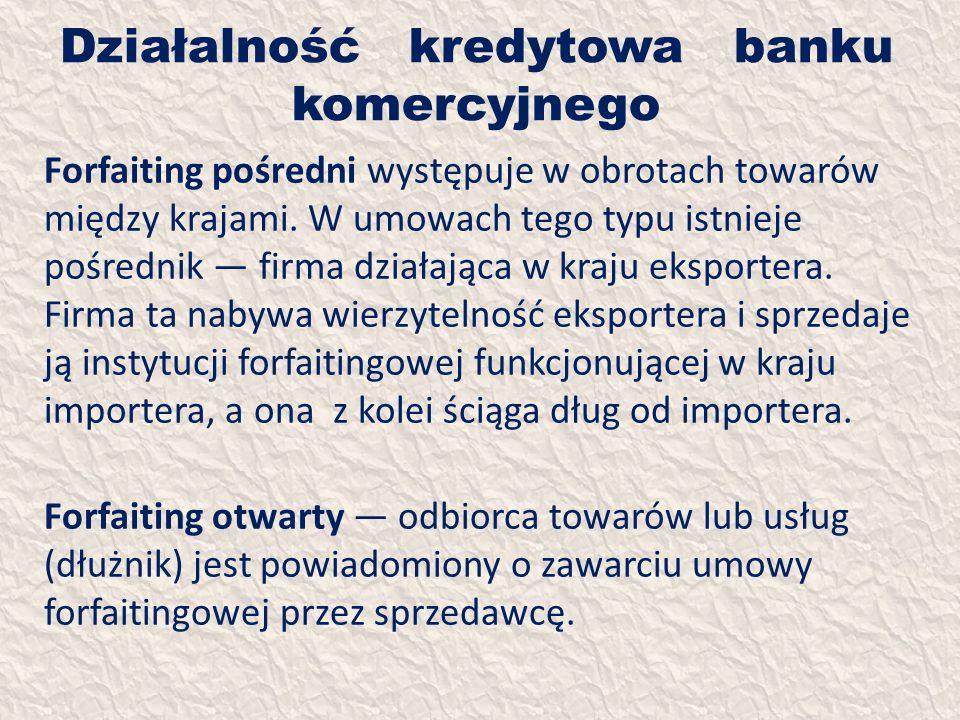Działalność kredytowa banku komercyjnego Forfaiting pośredni występuje w obrotach towarów między krajami. W umowach tego typu istnieje pośrednik firma