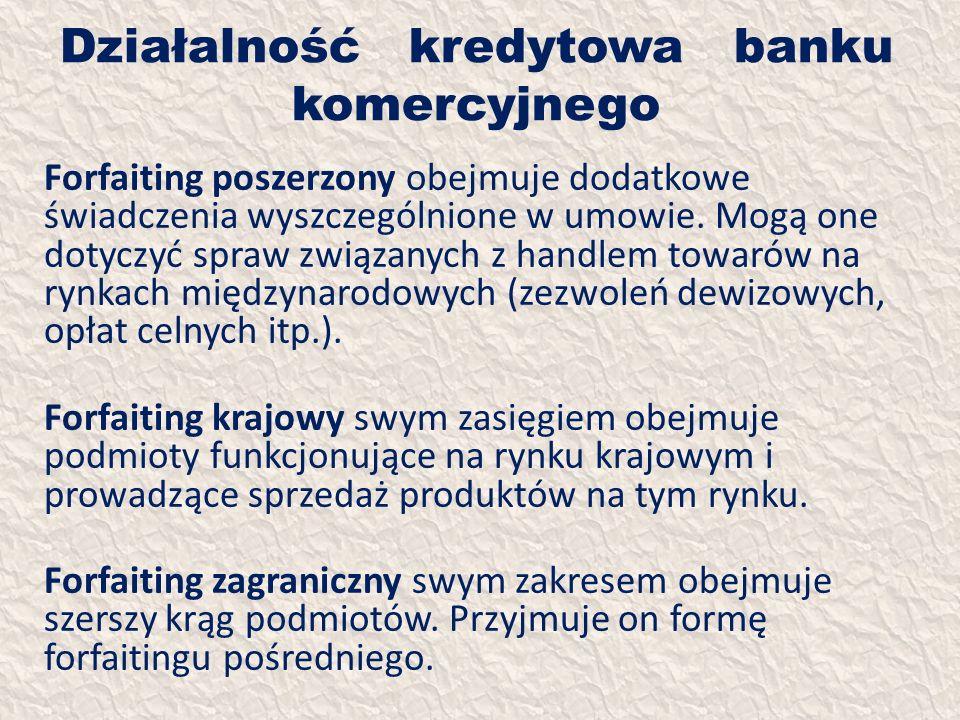 Działalność kredytowa banku komercyjnego Forfaiting poszerzony obejmuje dodatkowe świadczenia wyszczególnione w umowie. Mogą one dotyczyć spraw związa