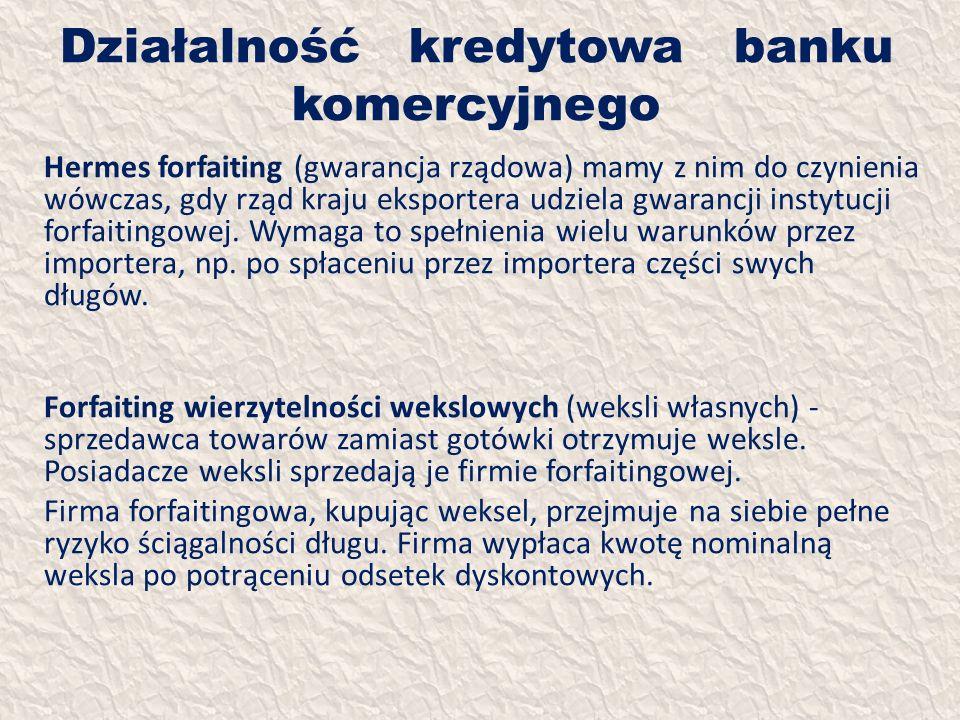 Działalność kredytowa banku komercyjnego Hermes forfaiting (gwarancja rządowa) mamy z nim do czynienia wówczas, gdy rząd kraju eksportera udziela gwar