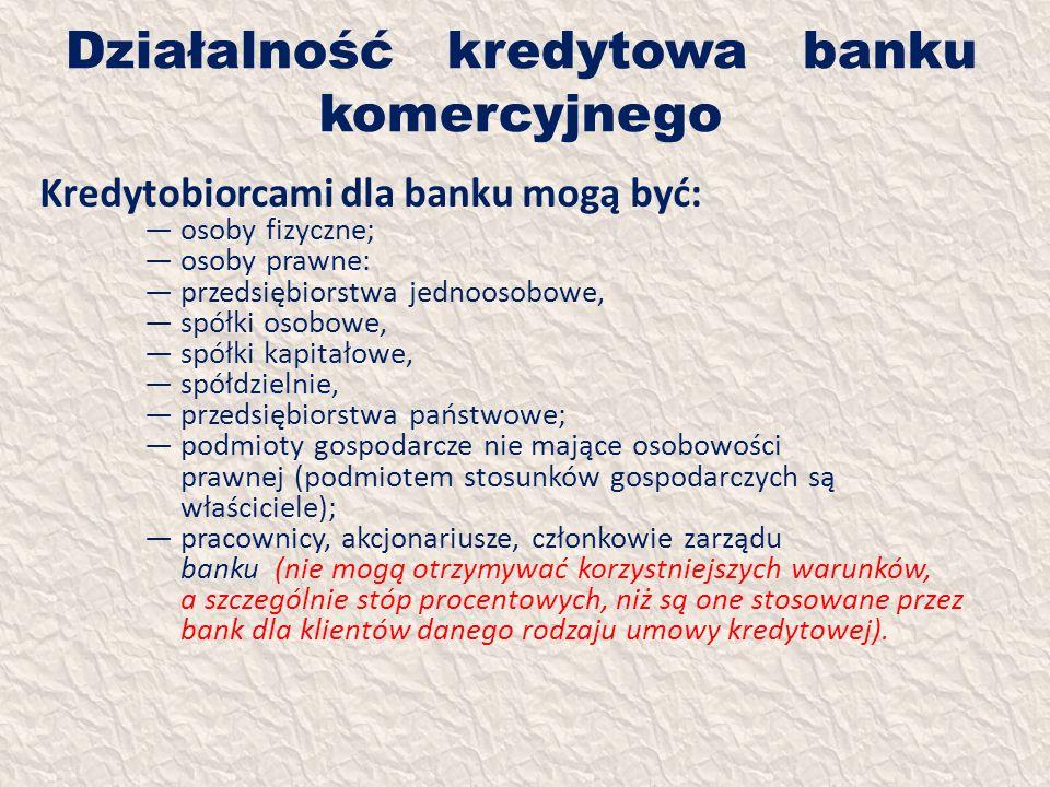 Działalność kredytowa banku komercyjnego Kredytobiorcami dla banku mogą być: osoby fizyczne; osoby prawne: przedsiębiorstwa jednoosobowe, spółki osobo