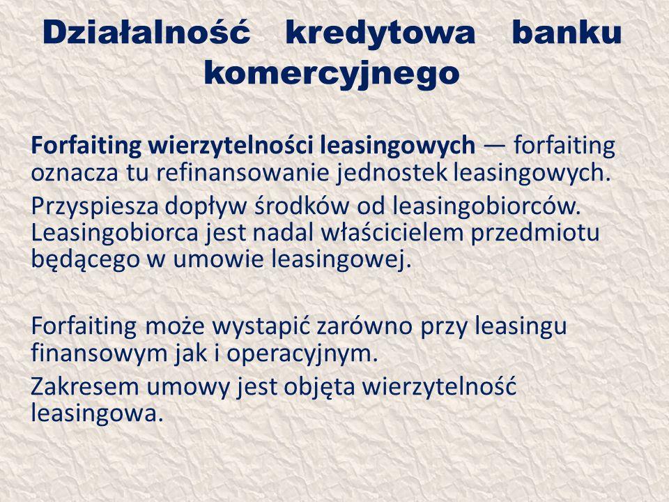 Działalność kredytowa banku komercyjnego Forfaiting wierzytelności leasingowych forfaiting oznacza tu refinansowanie jednostek leasingowych. Przyspies