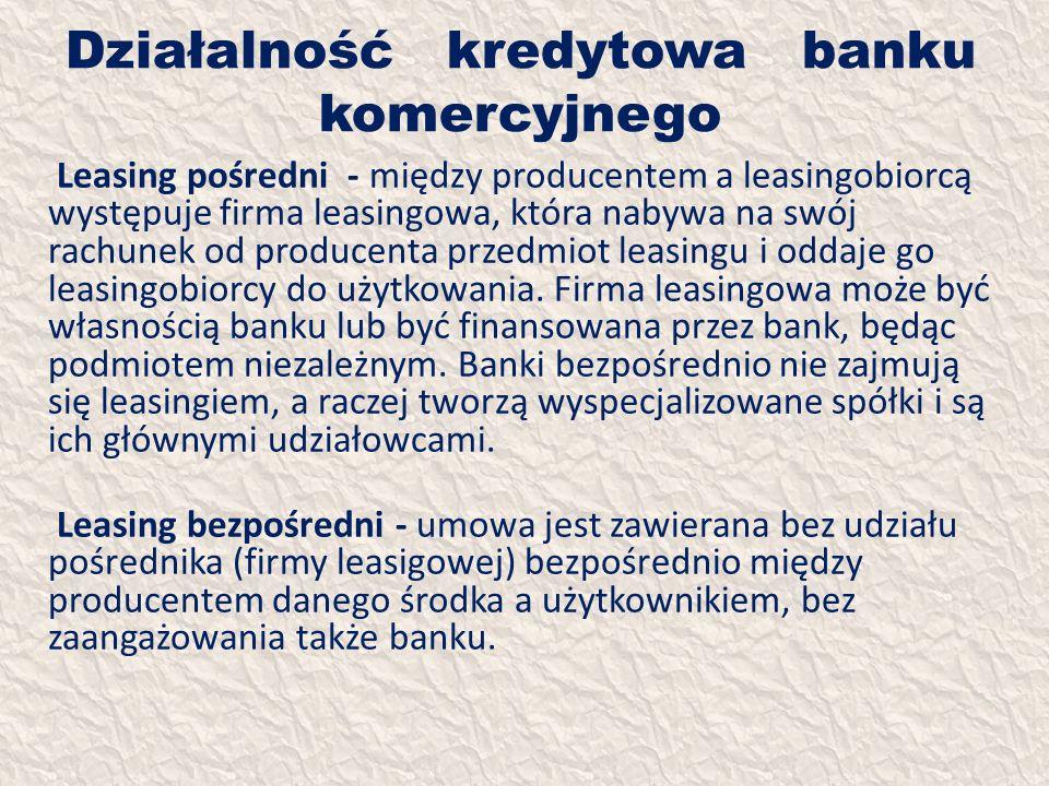 Działalność kredytowa banku komercyjnego Leasing pośredni - między producentem a leasingobiorcą występuje firma leasingowa, która nabywa na swój rachu