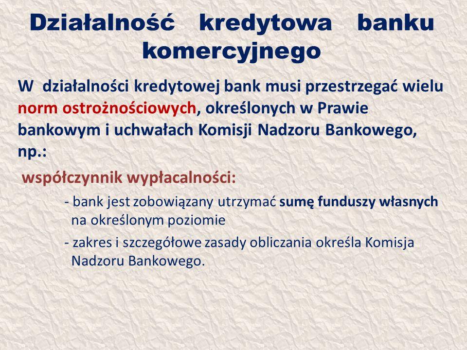 Działalność kredytowa banku komercyjnego W działalności kredytowej bank musi przestrzegać wielu norm ostrożnościowych, określonych w Prawie bankowym i