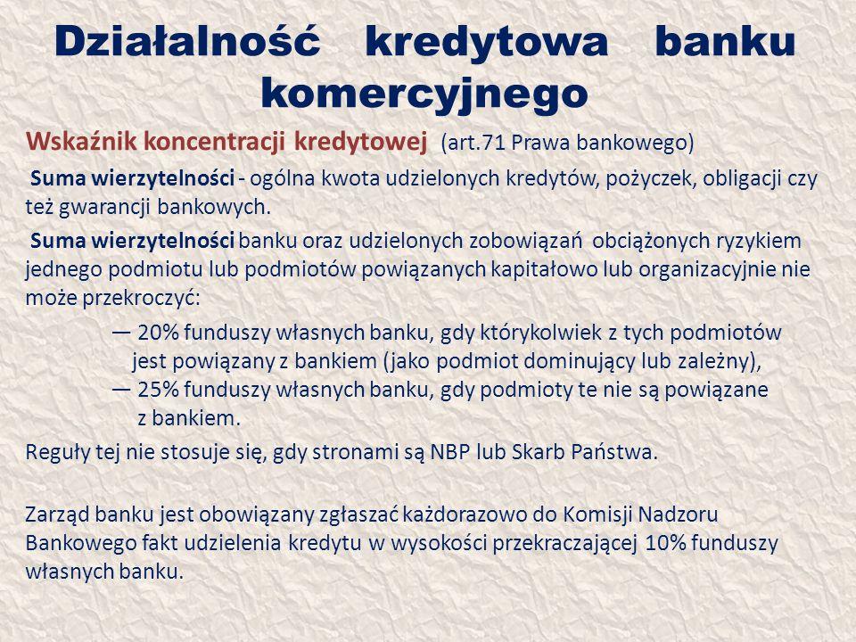 Działalność kredytowa banku komercyjnego Wskaźnik koncentracji kredytowej (art.71 Prawa bankowego) Suma wierzytelności - ogólna kwota udzielonych kred