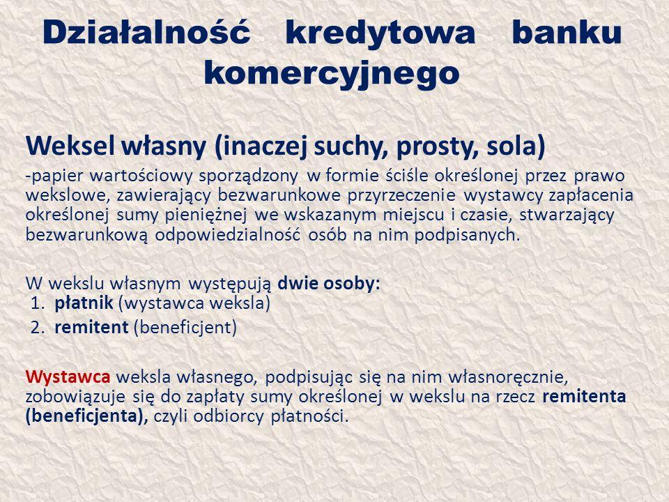 Działalność kredytowa banku komercyjnego Weksel własny (inaczej suchy, prosty, sola) -papier wartościowy sporządzony w formie ściśle określonej przez
