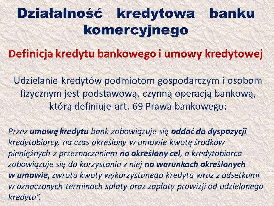 Działalność kredytowa banku komercyjnego Definicja kredytu bankowego i umowy kredytowej Udzielanie kredytów podmiotom gospodarczym i osobom fizycznym