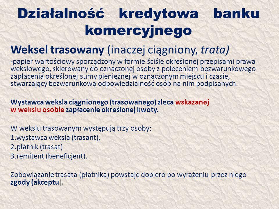 Działalność kredytowa banku komercyjnego Weksel trasowany (inaczej ciągniony, trata) -papier wartościowy sporządzony w formie ściśle określonej przepi