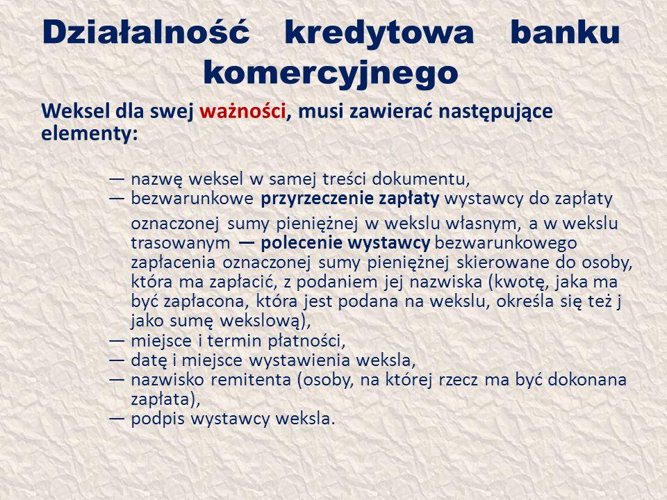 Działalność kredytowa banku komercyjnego Weksel dla swej ważności, musi zawierać następujące elementy: nazwę weksel w samej treści dokumentu, bezwarun