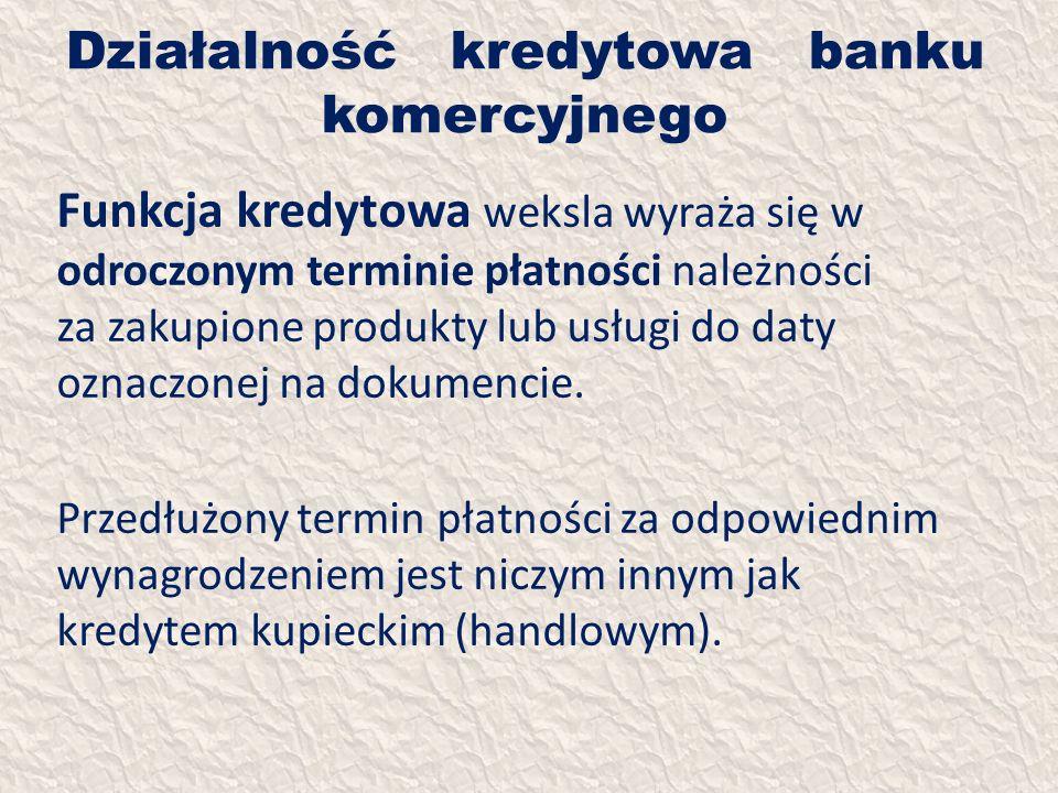 Działalność kredytowa banku komercyjnego Funkcja kredytowa weksla wyraża się w odroczonym terminie płatności należności za zakupione produkty lub usłu