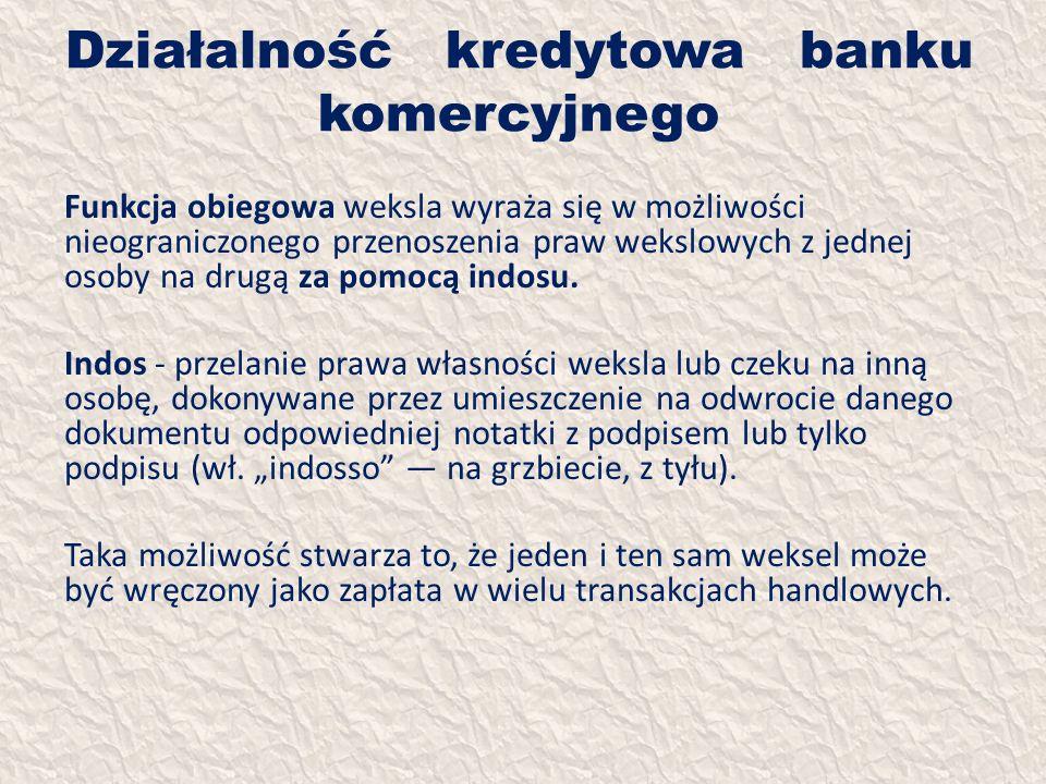 Działalność kredytowa banku komercyjnego Funkcja obiegowa weksla wyraża się w możliwości nieograniczonego przenoszenia praw wekslowych z jednej osoby
