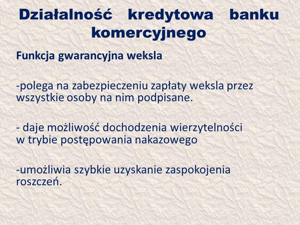 Działalność kredytowa banku komercyjnego Funkcja gwarancyjna weksla -polega na zabezpieczeniu zapłaty weksla przez wszystkie osoby na nim podpisane. -