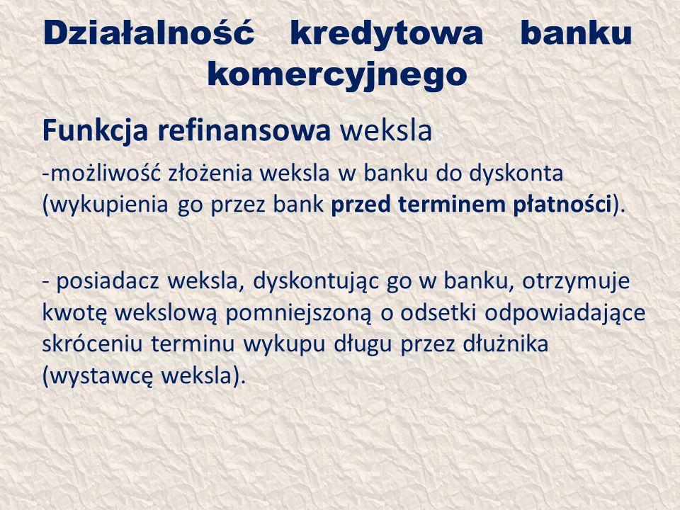 Działalność kredytowa banku komercyjnego Funkcja refinansowa weksla -możliwość złożenia weksla w banku do dyskonta (wykupienia go przez bank przed ter