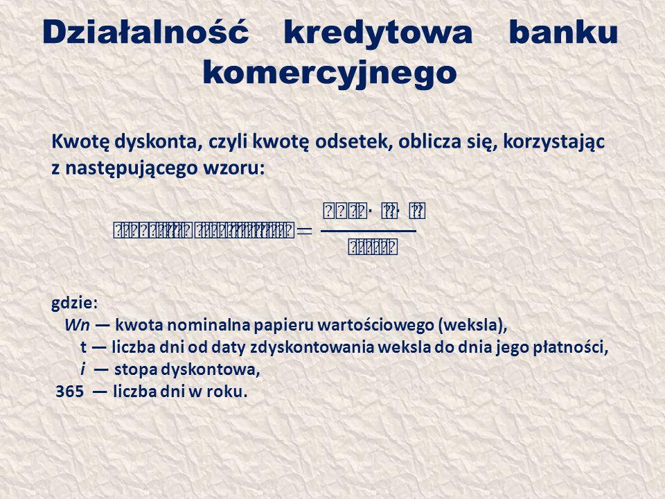 Działalność kredytowa banku komercyjnego Kwotę dyskonta, czyli kwotę odsetek, oblicza się, korzystając z następującego wzoru: gdzie: Wn kwota nominaln