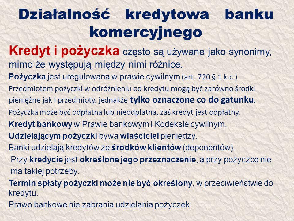 Działalność kredytowa banku komercyjnego Kredyt i pożyczka często są używane jako synonimy, mimo że występują między nimi różnice. Pożyczka jest uregu