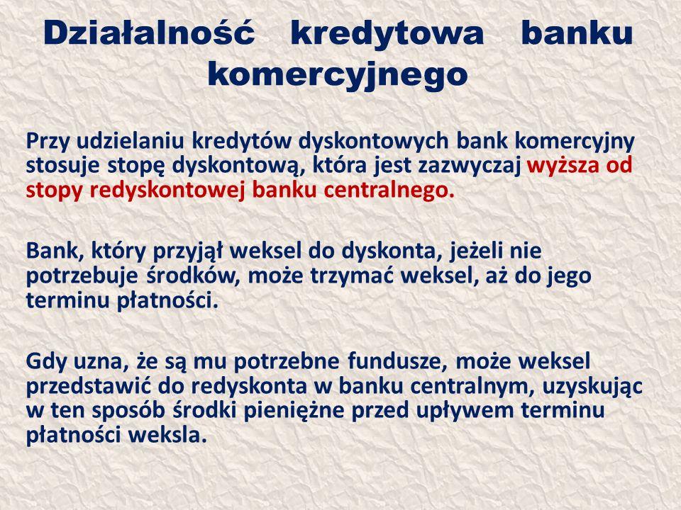 Działalność kredytowa banku komercyjnego Przy udzielaniu kredytów dyskontowych bank komercyjny stosuje stopę dyskontową, która jest zazwyczaj wyższa o