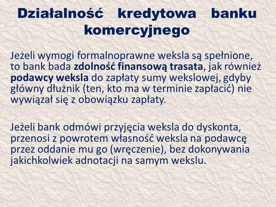 Działalność kredytowa banku komercyjnego Jeżeli wymogi formalnoprawne weksla są spełnione, to bank bada zdolność finansową trasata, jak również podawc