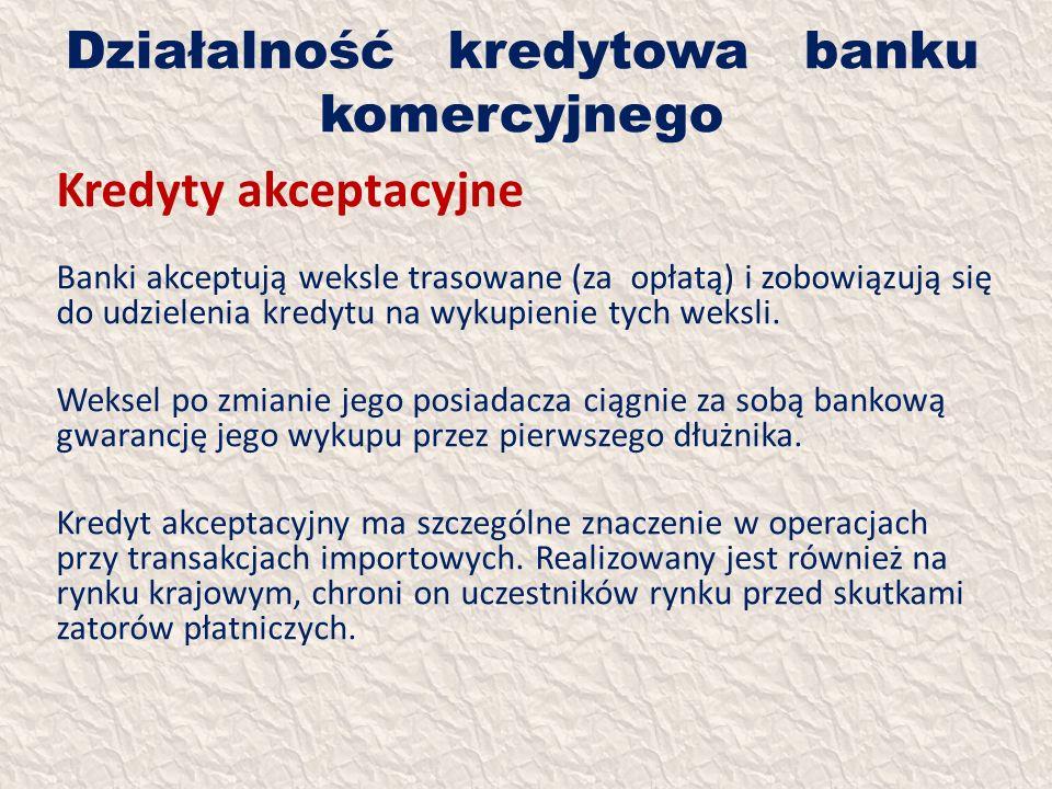 Działalność kredytowa banku komercyjnego Kredyty akceptacyjne Banki akceptują weksle trasowane (za opłatą) i zobowiązują się do udzielenia kredytu na
