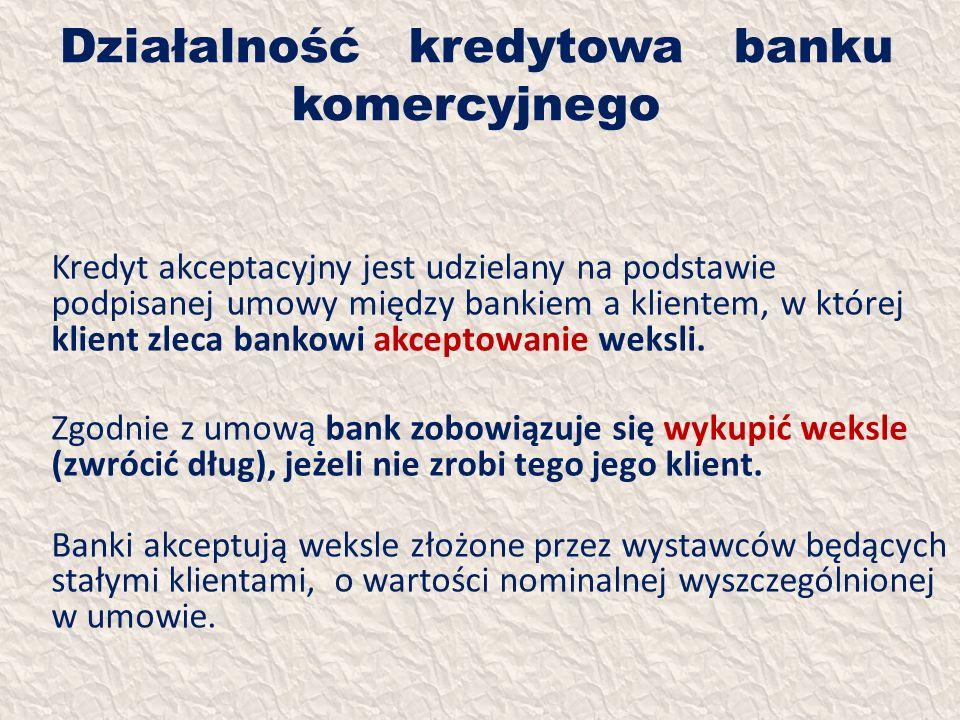 Działalność kredytowa banku komercyjnego Kredyt akceptacyjny jest udzielany na podstawie podpisanej umowy między bankiem a klientem, w której klient z