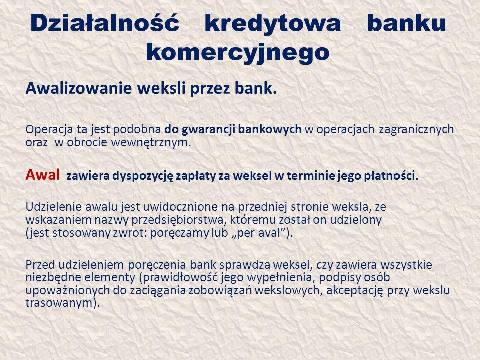 Działalność kredytowa banku komercyjnego Awalizowanie weksli przez bank. Operacja ta jest podobna do gwarancji bankowych w operacjach zagranicznych or