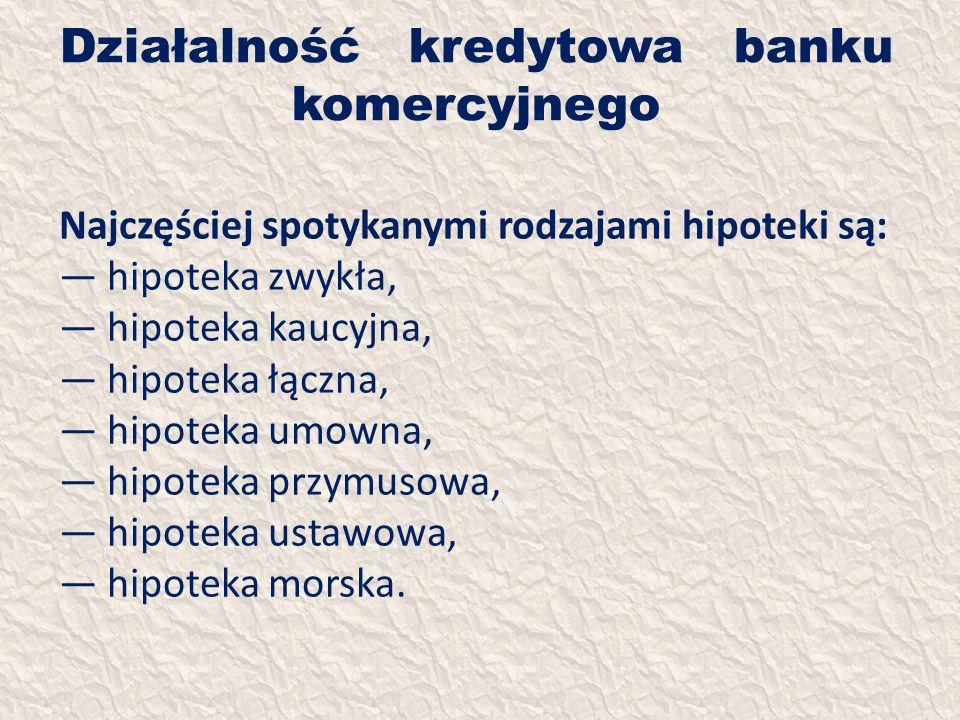 Działalność kredytowa banku komercyjnego Najczęściej spotykanymi rodzajami hipoteki są: hipoteka zwykła, hipoteka kaucyjna, hipoteka łączna, hipoteka