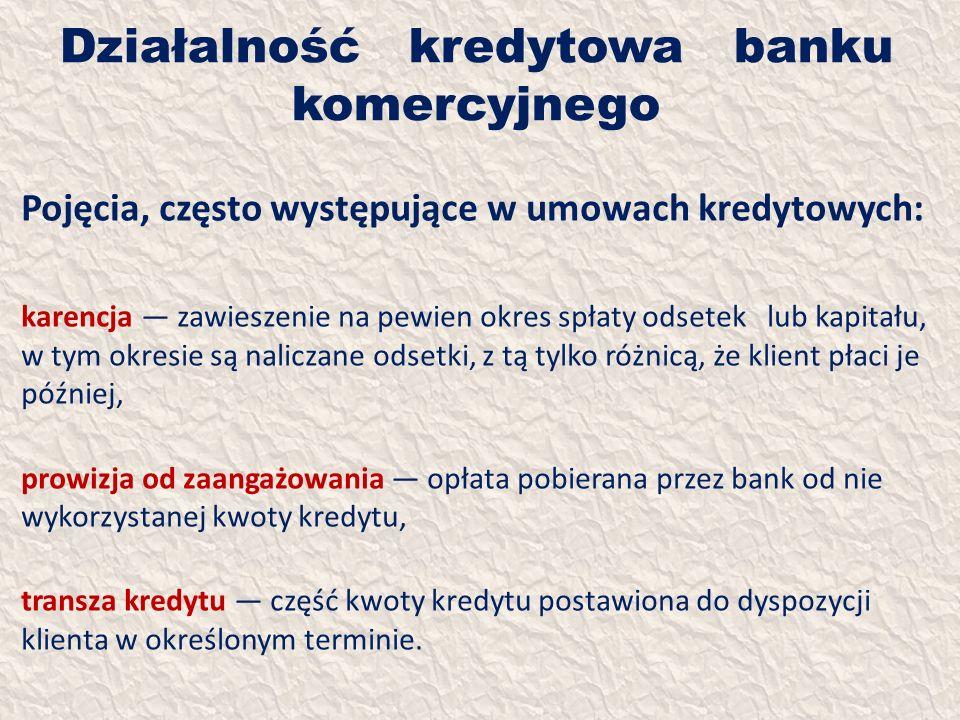 Działalność kredytowa banku komercyjnego Pojęcia, często występujące w umowach kredytowych: karencja zawieszenie na pewien okres spłaty odsetek lub ka