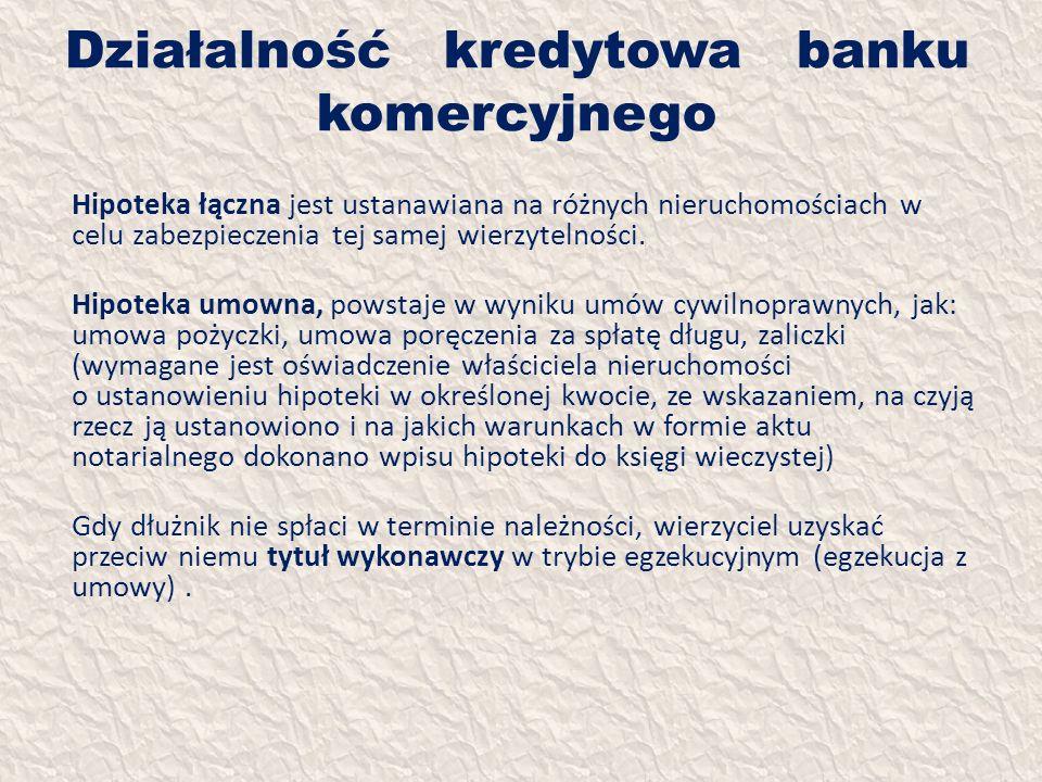 Działalność kredytowa banku komercyjnego Hipoteka łączna jest ustanawiana na różnych nieruchomościach w celu zabezpieczenia tej samej wierzytelności.