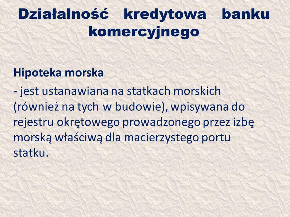 Działalność kredytowa banku komercyjnego Hipoteka morska - jest ustanawiana na statkach morskich (również na tych w budowie), wpisywana do rejestru ok