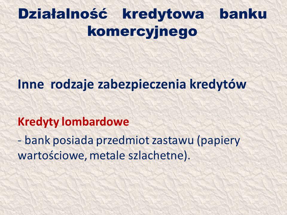 Działalność kredytowa banku komercyjnego Inne rodzaje zabezpieczenia kredytów Kredyty lombardowe - bank posiada przedmiot zastawu (papiery wartościowe