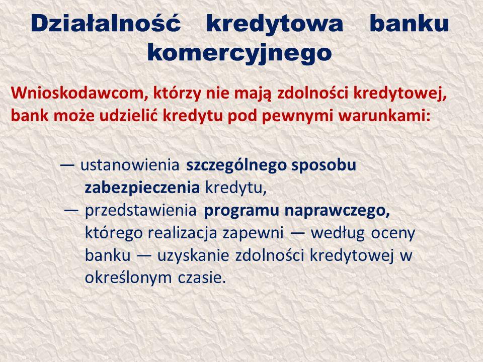 Działalność kredytowa banku komercyjnego Wnioskodawcom, którzy nie mają zdolności kredytowej, bank może udzielić kredytu pod pewnymi warunkami: ustano