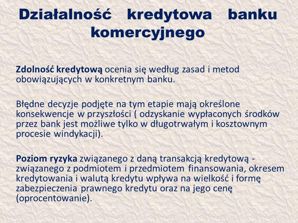 Działalność kredytowa banku komercyjnego Zdolność kredytową ocenia się według zasad i metod obowiązujących w konkretnym banku. Błędne decyzje podjęte