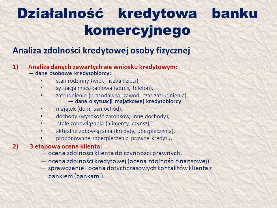 Działalność kredytowa banku komercyjnego Analiza zdolności kredytowej osoby fizycznej 1)Analiza danych zawartych we wniosku kredytowym: dane osobowe k
