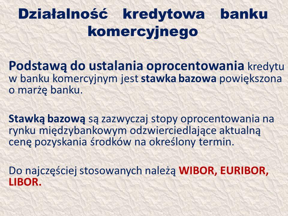 Działalność kredytowa banku komercyjnego Podstawą do ustalania oprocentowania kredytu w banku komercyjnym jest stawka bazowa powiększona o marżę banku