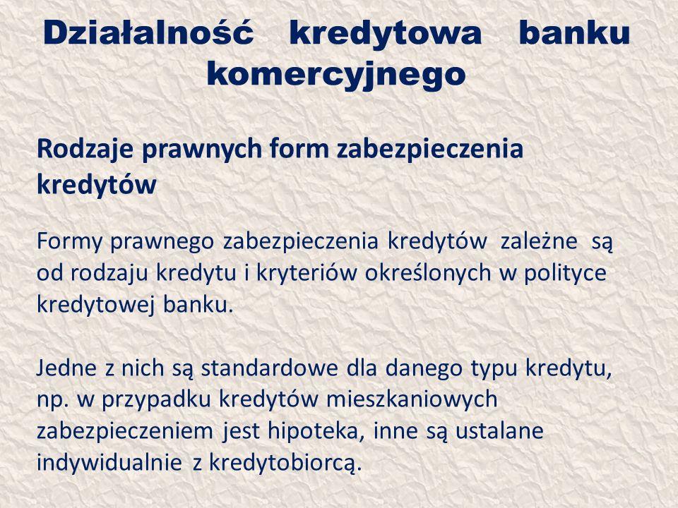 Działalność kredytowa banku komercyjnego Rodzaje prawnych form zabezpieczenia kredytów Formy prawnego zabezpieczenia kredytów zależne są od rodzaju kr