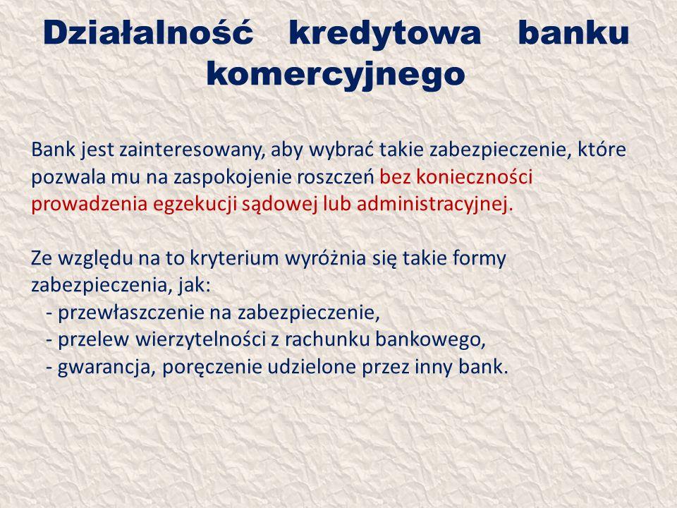 Działalność kredytowa banku komercyjnego Bank jest zainteresowany, aby wybrać takie zabezpieczenie, które pozwala mu na zaspokojenie roszczeń bez koni