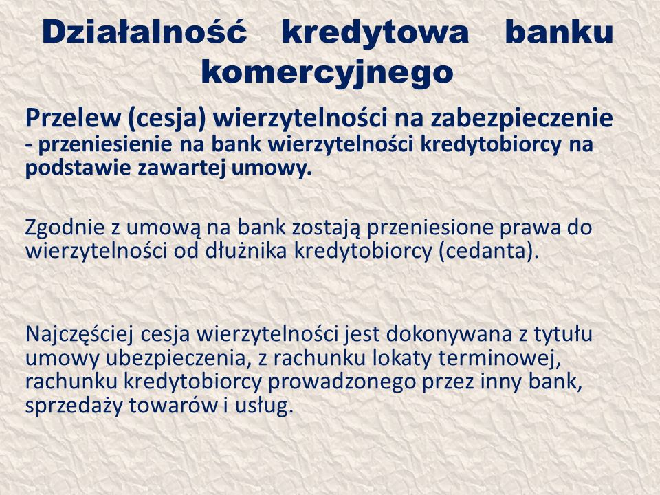 Działalność kredytowa banku komercyjnego Przelew (cesja) wierzytelności na zabezpieczenie - przeniesienie na bank wierzytelności kredytobiorcy na pods