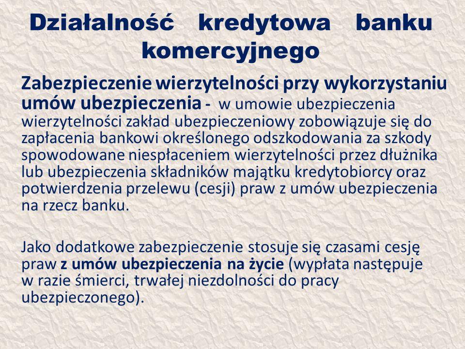 Działalność kredytowa banku komercyjnego Zabezpieczenie wierzytelności przy wykorzystaniu umów ubezpieczenia - w umowie ubezpieczenia wierzytelności z