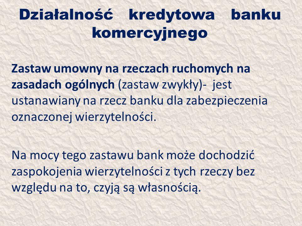 Działalność kredytowa banku komercyjnego Zastaw umowny na rzeczach ruchomych na zasadach ogólnych (zastaw zwykły)- jest ustanawiany na rzecz banku dla