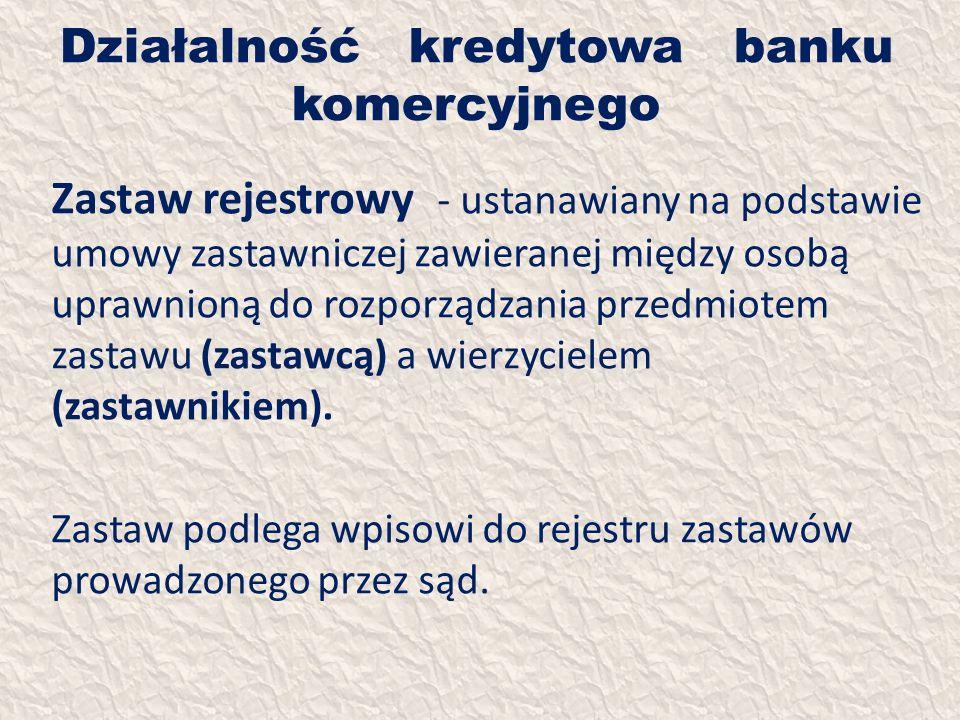 Działalność kredytowa banku komercyjnego Zastaw rejestrowy - ustanawiany na podstawie umowy zastawniczej zawieranej między osobą uprawnioną do rozporz