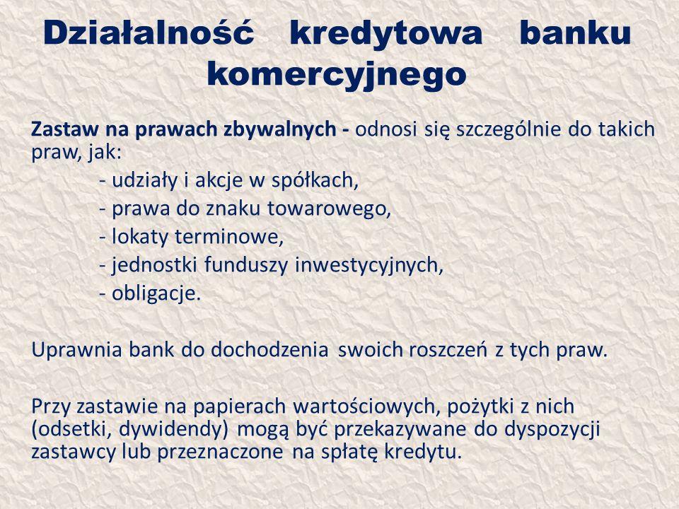 Działalność kredytowa banku komercyjnego Zastaw na prawach zbywalnych - odnosi się szczególnie do takich praw, jak: - udziały i akcje w spółkach, - pr