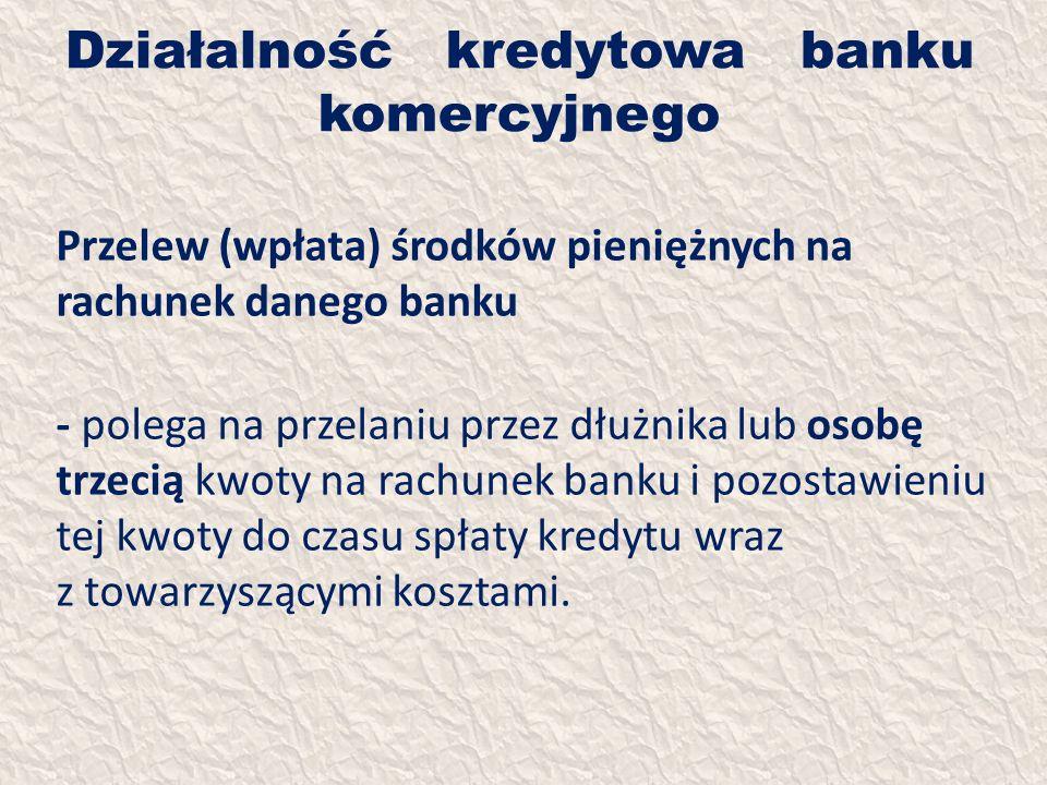 Działalność kredytowa banku komercyjnego Przelew (wpłata) środków pieniężnych na rachunek danego banku - polega na przelaniu przez dłużnika lub osobę