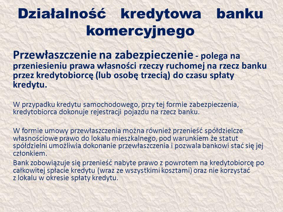 Działalność kredytowa banku komercyjnego Przewłaszczenie na zabezpieczenie - polega na przeniesieniu prawa własności rzeczy ruchomej na rzecz banku pr