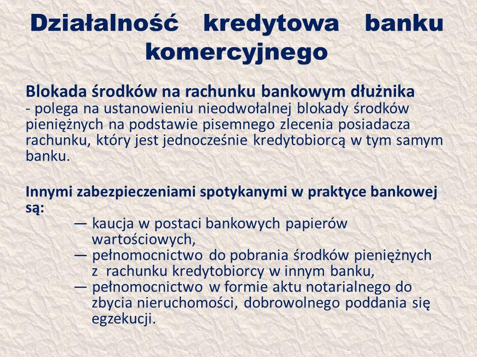 Działalność kredytowa banku komercyjnego Blokada środków na rachunku bankowym dłużnika - polega na ustanowieniu nieodwołalnej blokady środków pieniężn