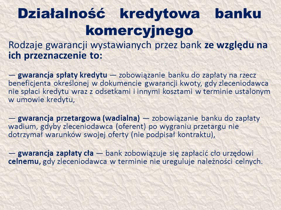 Działalność kredytowa banku komercyjnego Rodzaje gwarancji wystawianych przez bank ze względu na ich przeznaczenie to: gwarancja spłaty kredytu zobowi