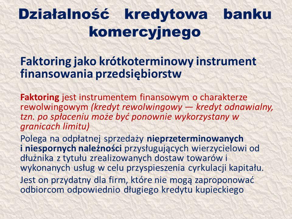 Działalność kredytowa banku komercyjnego Faktoring jako krótkoterminowy instrument finansowania przedsiębiorstw Faktoring jest instrumentem finansowym