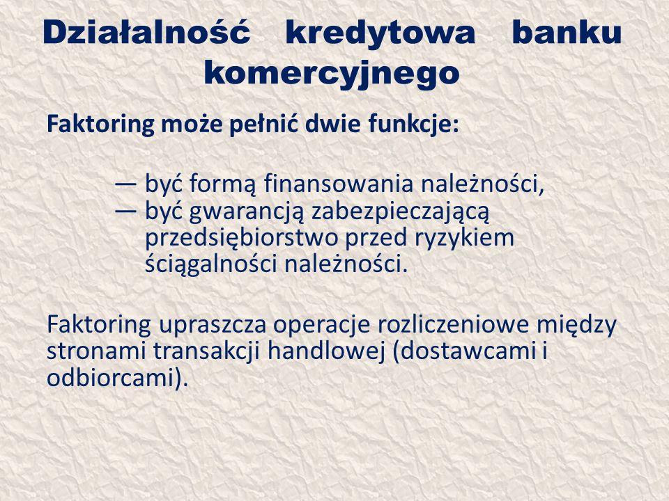 Działalność kredytowa banku komercyjnego Faktoring może pełnić dwie funkcje: być formą finansowania należności, być gwarancją zabezpieczającą przedsię