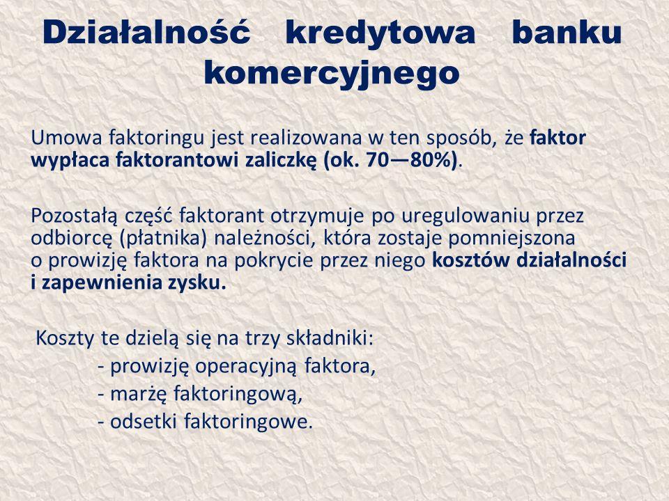 Działalność kredytowa banku komercyjnego Umowa faktoringu jest realizowana w ten sposób, że faktor wypłaca faktorantowi zaliczkę (ok. 7080%). Pozostał