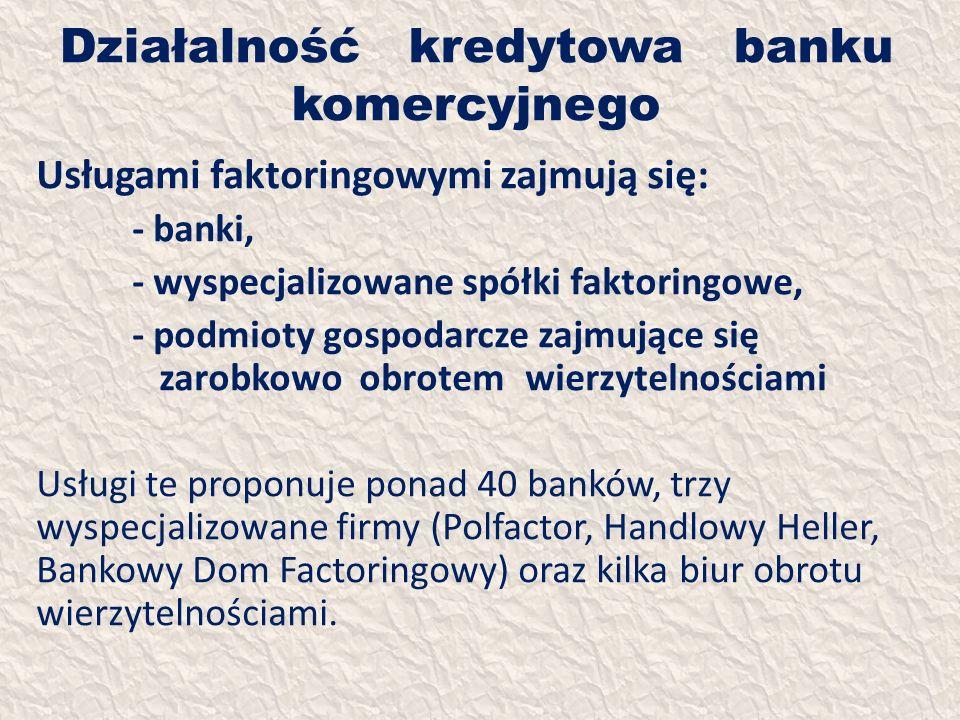Działalność kredytowa banku komercyjnego Usługami faktoringowymi zajmują się: - banki, - wyspecjalizowane spółki faktoringowe, - podmioty gospodarcze
