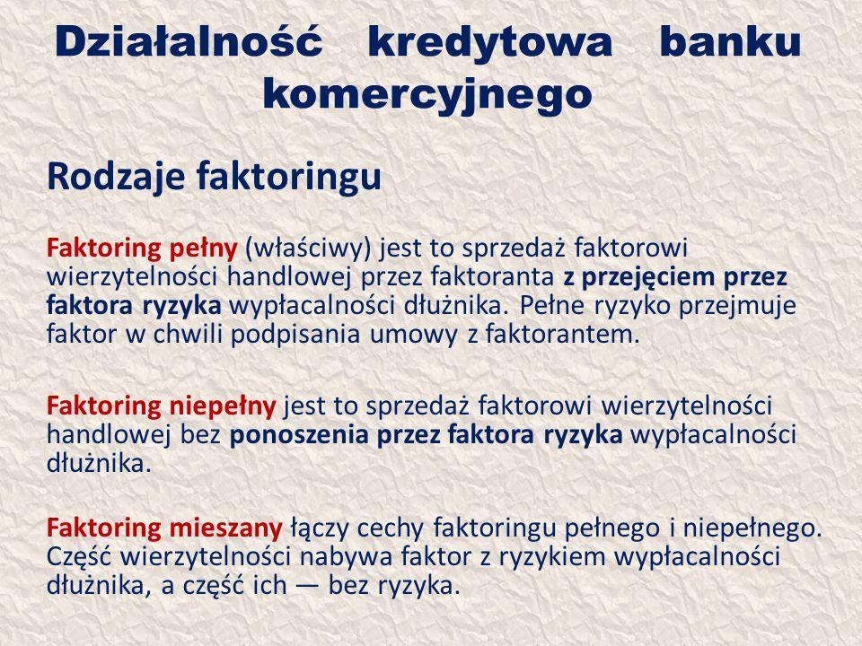 Działalność kredytowa banku komercyjnego Rodzaje faktoringu Faktoring pełny (właściwy) jest to sprzedaż faktorowi wierzytelności handlowej przez fakto